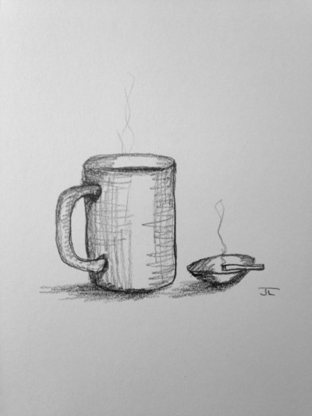 "Coffee and Cigarette 6x9"" Paper Original Graphite Drawing"