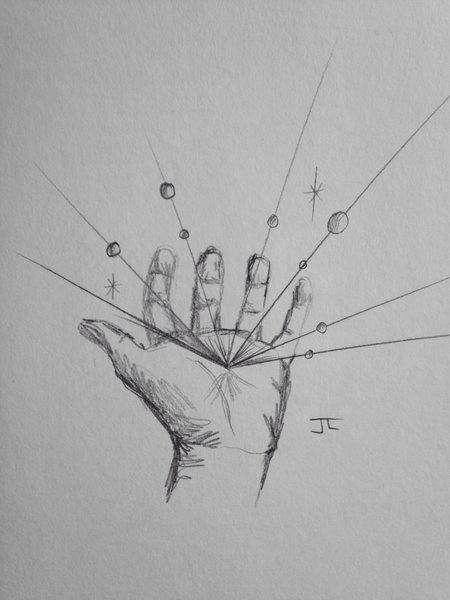 """Eminating hand 9x6"""" graphite drawing"""