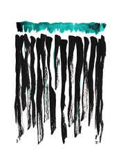 "SOLD 11x15"" Teal Black Abstract India Ink"