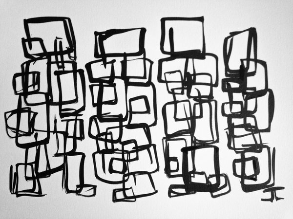 """9x12"""" Cube figures India Ink Original"""