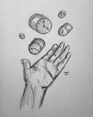 "Clocks 9x6"" graphite drawing"