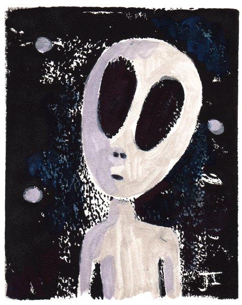 "Alien Linocut and Watercolor Gray 5 x 7"""