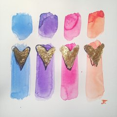 """SOLD Colorful love 12"""" x 12"""" watercolor and gold leaf"""