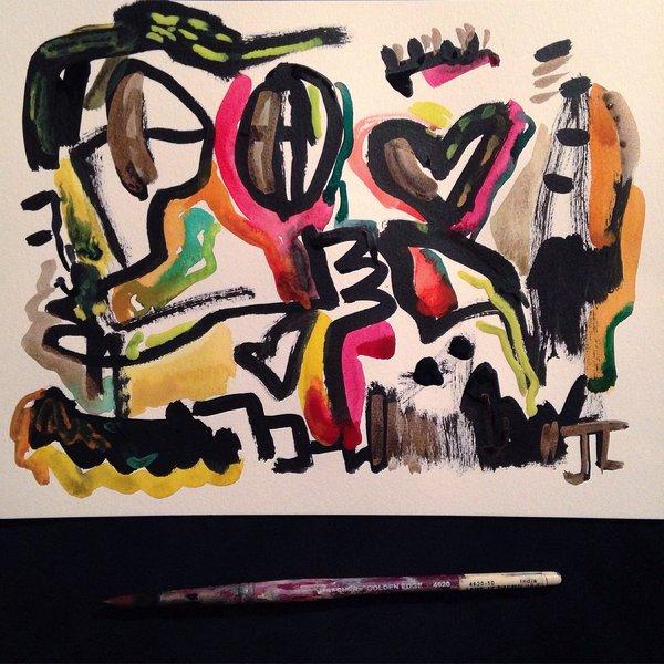 "Abstract original 9x12"" watercolor"