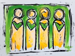 "4.5 x 6"" Original Heart People Linocut Green and Flourescent Orange Yellow"