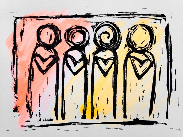 """4.5 x 6"""" Original Heart People Linocut Flourescent Yellow Orange"""