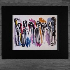 "Abstract people 11x15"" paper original watercolor"