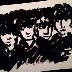 "Beatles 9x12"" India ink"