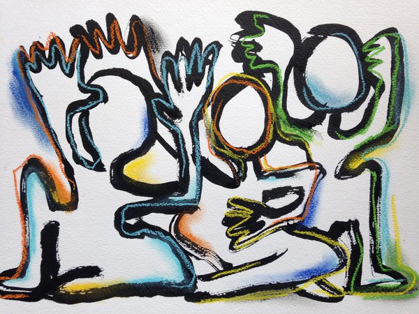 "11x15"" India Ink and Pastel Original Painting Three Figures"