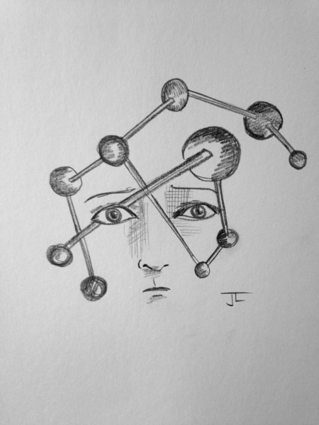"Atomic Face 6x9"" Paper Original Graphite Drawing"