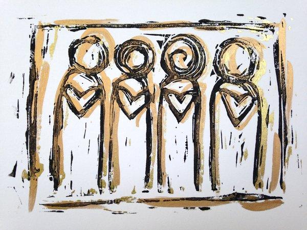 "4.5 x 6"" Original Heart People Linocut Gold Layers"