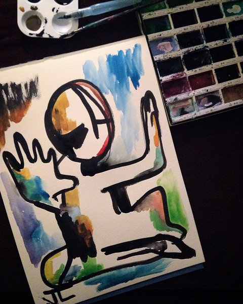 """SOLD 11x15"""" Figure Watercolor and India Ink Original Painting"""