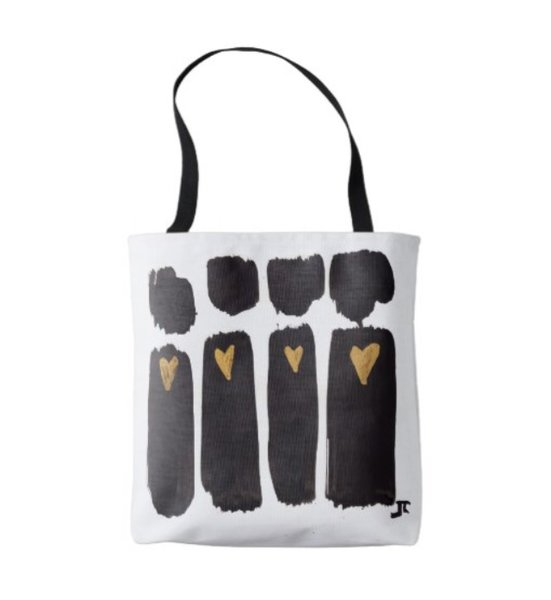 Heart People Black & Gold tote