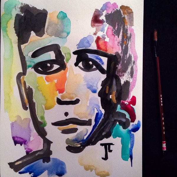 "Colorful Face 11x15"" Watercolor and India Ink"