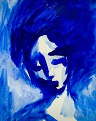 "SOLD Blue Lady 9x12"" acrylic original"