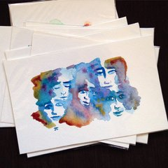 SOLD Colorful faces mini original watercolor