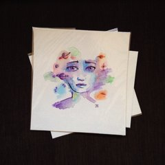 SOLD Cosmic girl original mini watercolor