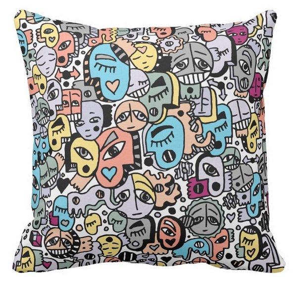 Peachy and Pastel Tone Graffix Pillow