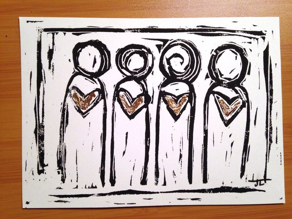 "4.5 x 6"" Original Heart People Linocut with Goldleaf"