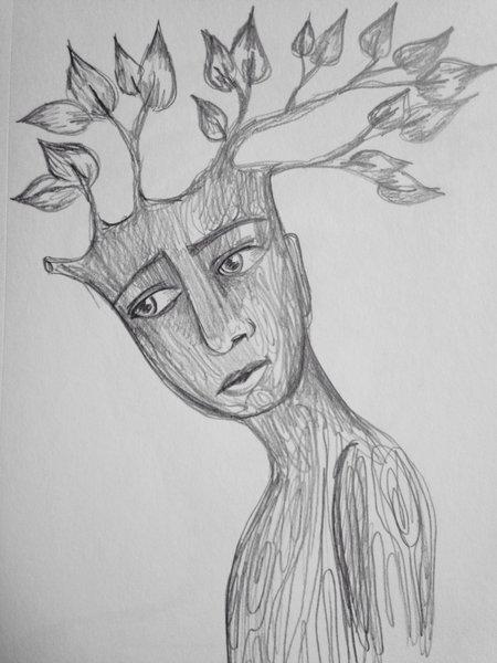 "Tree boy 9x6"" graphite drawing"