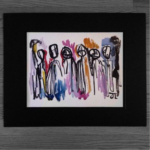 """Abstract people 11x15"""" paper original watercolor"""