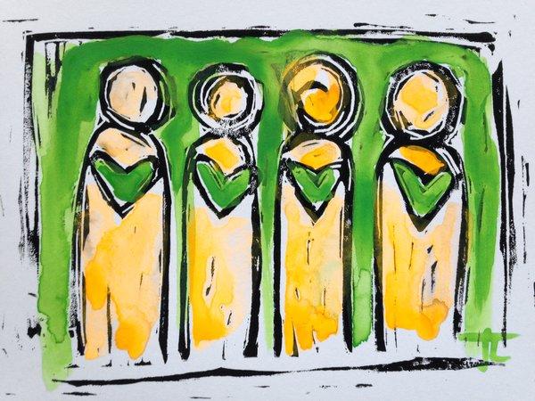 "4.5 x 6"" Original Heart People Linocut Green and Flourescent Orange Yellow"