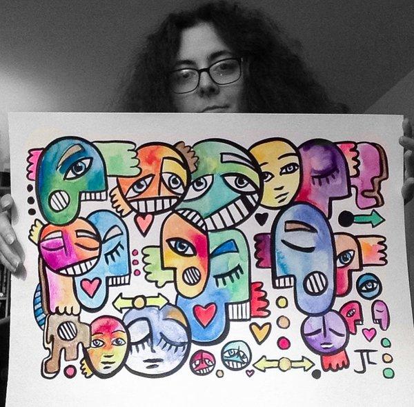 """Graffix 18x24"""" original watercolor and India ink"""
