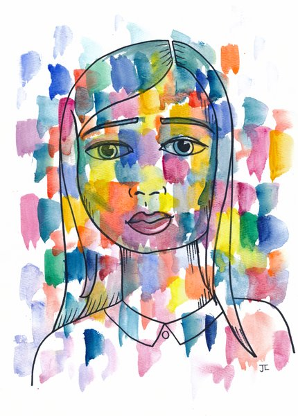 "Mosaic Girl Original Watercolor 9"" x 12"""