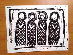 "4.5 x 6"" Original Heart People Linocut Checkers"