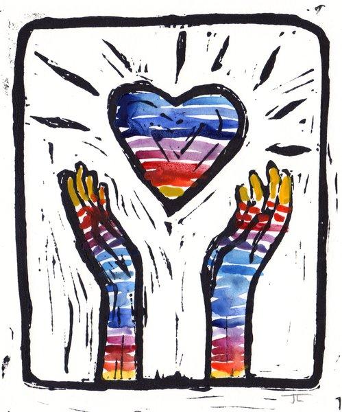 "5 x 7"" Original Linocut Heart and Hands Rainbow Striped"