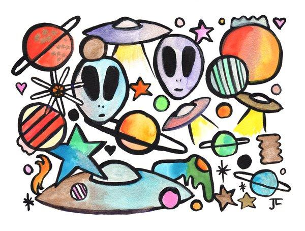 "SOLD 9x12"" Alien Graffix Original India Ink Watercolor"
