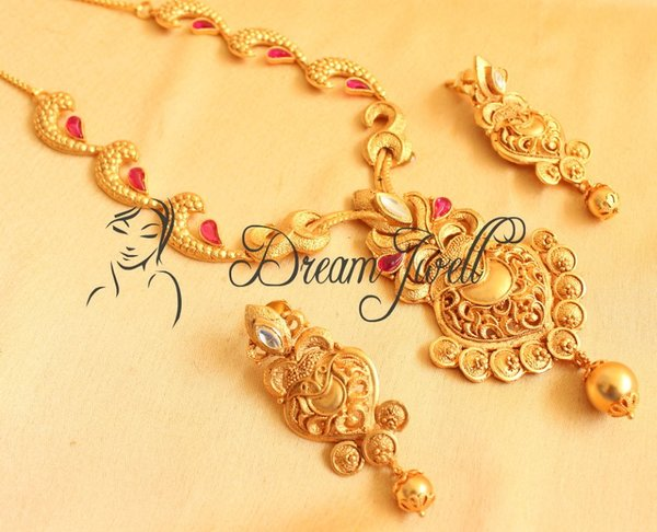 One gm gold necklace set with uncut semi precious stones dj00090 one gm gold necklace set with uncut semi precious stones dj00090 aloadofball Gallery