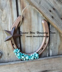 Lucky Horsehoe- Horseshoe With Star and Turquoise Beads