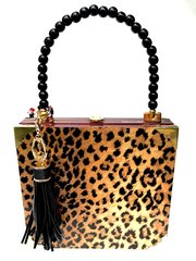 Bespoke Purse: SOLD Churchill Leopard with Back Beaded handle Signed #1802 Order one like this if you like it .