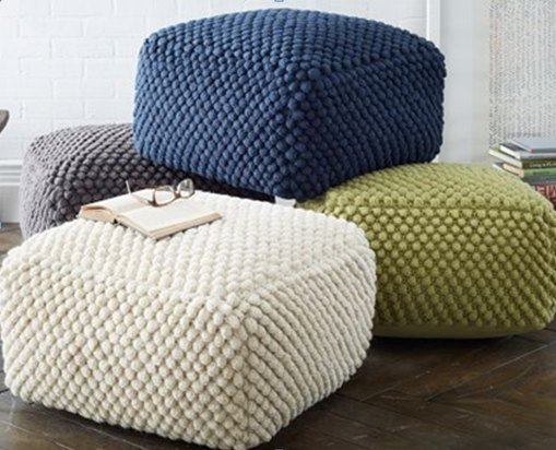 crochet knit 100 wool ottoman zen dezigns. Black Bedroom Furniture Sets. Home Design Ideas