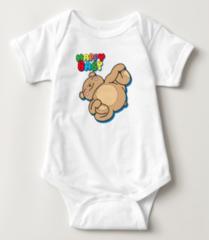 "Yoga Teddy Bear ""Happy Baby"" Baby Bodysuit"