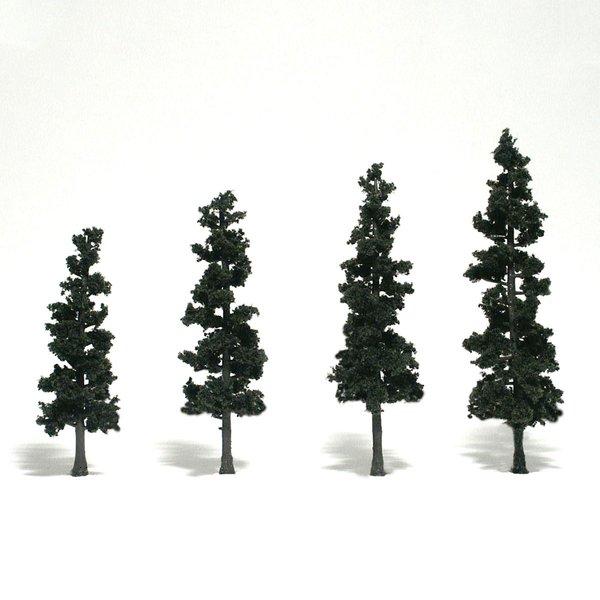 "Woodland Scenics 4-6"" Conifer Green Premium Trees 4/Pk"
