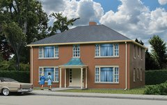 Walthers Cornerstone HO Scale Four-Unit Brick Apartment Buildings