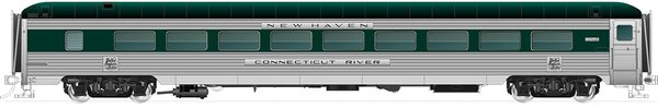 """Rapido Ho Scale """"River"""" Series 26-Seat Parlor/14-Seat Lounge – New Haven Green (w/skirts)"""