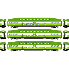 Athearn RTR Bombardier Modern Paint Scheme GO Transit 3 Pack of Coaches