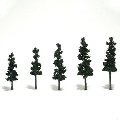 "Woodland Scenics 2.5-4"" Conifer Green Premium Trees 5/Pk"