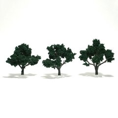 "Woodland Scenics 3-4"" Dark Green Premium Trees 3/Pk"
