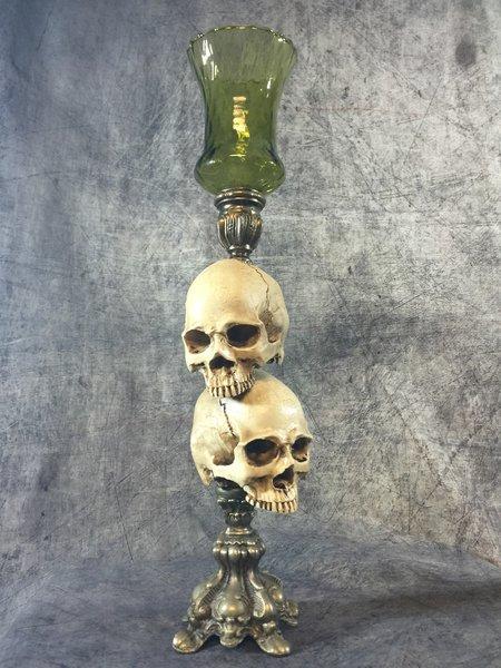 SOLD Skull Candle Holder Set