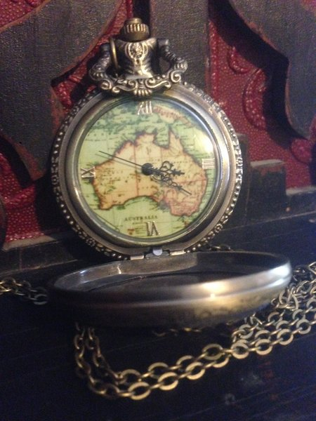 Back Map Timepiece Necklace