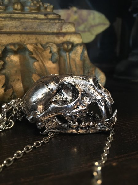 Stainless Steel Cat Skull Necklace