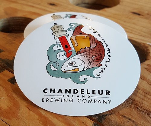 Chandeleur island brewing company colored logo sticker