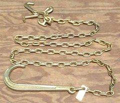 """Grade 70 5/16"""" x 10' Chain Assembly w/15"""" J Hook on one end & grab, mini j, r & t-hook on other end"""