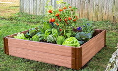 "Frame It All Raised Garden Bed 4' x 4' x 11"" – 1"" profile- Classic Sienna"