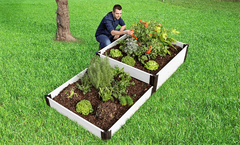 "Frame It All Raised Garden Bed Terraced 4' x 8' x 16"" - Classic White"
