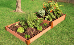 "Frame It All Raised Garden Bed Terraced 4' x 8' x 11"" – 2"" profile - Classic Sienna"